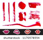 red lipstick smears set.... | Shutterstock .eps vector #1170578554