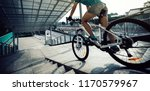 woman freerider riding down... | Shutterstock . vector #1170579967