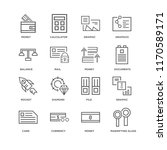 set of 16 simple line icons... | Shutterstock .eps vector #1170589171