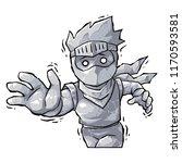 ninja boy petrified curse.  | Shutterstock .eps vector #1170593581