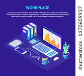 isometric workplace for... | Shutterstock .eps vector #1170609937