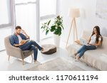 high angle view of man reading...   Shutterstock . vector #1170611194