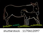 a donkey with a cub | Shutterstock .eps vector #1170612097