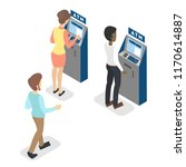 people standing in line at atm. ... | Shutterstock .eps vector #1170614887