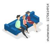 family sitting on the blue...   Shutterstock .eps vector #1170614914