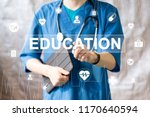 doctor pushing button education ... | Shutterstock . vector #1170640594