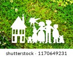 paper family  house and car on... | Shutterstock . vector #1170649231