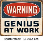 vintage metal sign   warning... | Shutterstock .eps vector #117065125