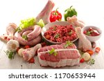 sausage  beef and raw meats | Shutterstock . vector #1170653944