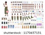 african american traveler woman ... | Shutterstock .eps vector #1170657151