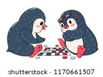 two cartoon penguins are... | Shutterstock .eps vector #1170661507