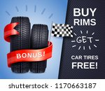 realistic car tires as present... | Shutterstock .eps vector #1170663187