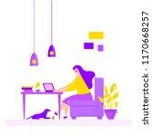 girl sitting in armchair...   Shutterstock .eps vector #1170668257