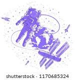 spaceman flying in open space... | Shutterstock .eps vector #1170685324