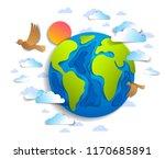 cartoon earth clouds birds... | Shutterstock .eps vector #1170685891