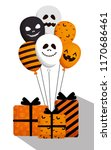 halloween card with balloons... | Shutterstock .eps vector #1170686461