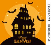 happy halloween card with... | Shutterstock .eps vector #1170686467