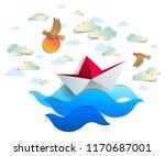 paper ship swimming in sea...   Shutterstock .eps vector #1170687001