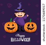 girl dressed up as a witch on... | Shutterstock .eps vector #1170689017