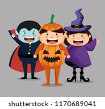 group of children dressed up in ... | Shutterstock .eps vector #1170689041