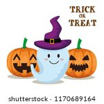 happy halloween card with gosth | Shutterstock .eps vector #1170689164