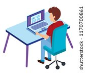 young man with laptop in office ... | Shutterstock .eps vector #1170700861