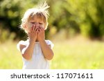 beautiful little girl on nature | Shutterstock . vector #117071611