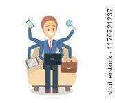 multitasking businessman.... | Shutterstock .eps vector #1170721237
