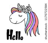 unicorn  with hand drawn ink ... | Shutterstock .eps vector #1170722584