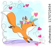 vector red fox hand drawn... | Shutterstock .eps vector #1170723454