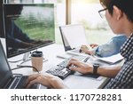 programmers cooperating at... | Shutterstock . vector #1170728281
