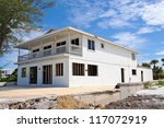 Beach House Being Repaired after Hurricane Storm Damage - stock photo