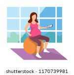pregnant woman is exercising on ... | Shutterstock .eps vector #1170739981