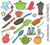 set of doodles on the theme of... | Shutterstock .eps vector #1170756871