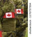 canada patch flags on soldiers... | Shutterstock . vector #1170757504