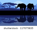 Elephant family in wild Africa mountain nature landscape background illustration vector - stock vector
