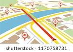 gps navigator. navigation map.... | Shutterstock .eps vector #1170758731