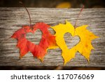 love hearts on colorful autumn...   Shutterstock . vector #117076069