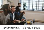 mixed race male supporters... | Shutterstock . vector #1170761431