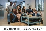 multi ethnic fans celebrate... | Shutterstock . vector #1170761587