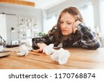 angry and tired child girl... | Shutterstock . vector #1170768874