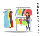 woman choosing clothes in the... | Shutterstock .eps vector #1170785257