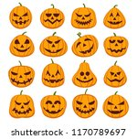 pumpkin halloween faces. spooky ... | Shutterstock .eps vector #1170789697