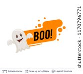 friendly ghost and halloween... | Shutterstock .eps vector #1170796771