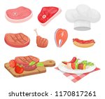 meat types beef and chicken... | Shutterstock .eps vector #1170817261