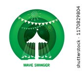 wave swinger with paper cut...   Shutterstock .eps vector #1170829804