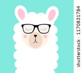 little cute llama with glasses... | Shutterstock . vector #1170831784
