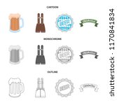 shorts with suspenders  a glass ... | Shutterstock .eps vector #1170841834
