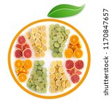 many fruits in the shape of a... | Shutterstock . vector #1170847657
