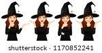 surprised halloween woman in... | Shutterstock .eps vector #1170852241